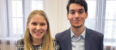 Lena Lange und Robin Balzereit von der Hessischen Union zur Stärkung von Kinder- und Jugendinteressen (HUSKJ)