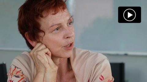 Sabine Leidig, Spitzenkandidatin der Linken in Hessen bei der Bundestagswahl