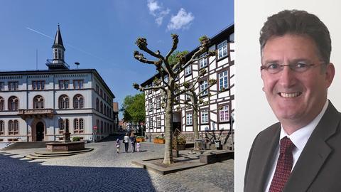 Das Rathaus von Lich (Gießen) und der langjährige Bürgermeister Bernd Klein