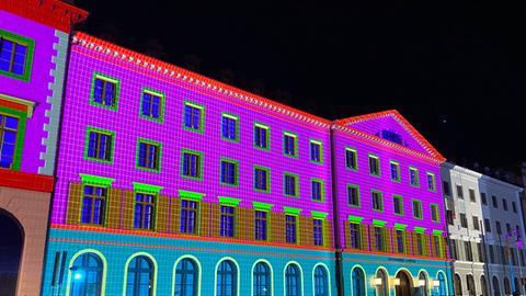 Lichtershow am Landtag anlässlich der 75-jährigen Geschichte des Landes und seiner Verfassung