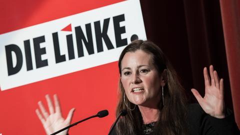 Linke-Fraktionsvorsitzende Janine Wissler bei einem Parteitag