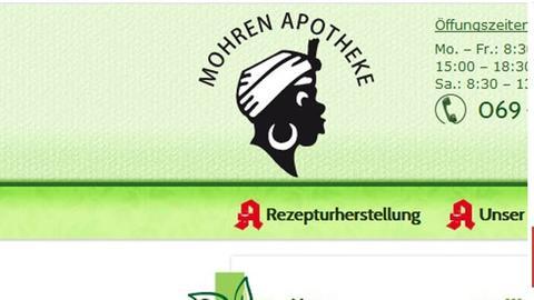 """Logo der """"Mohren Apotheke"""" in Frankfurt."""