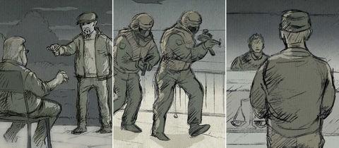 Drei Illustrationen der Illustratorin Inga Reichert in Kombination: Szene einer Ermordung, ein SEK-Einsatz, und ein Angeklagter vor Gericht.