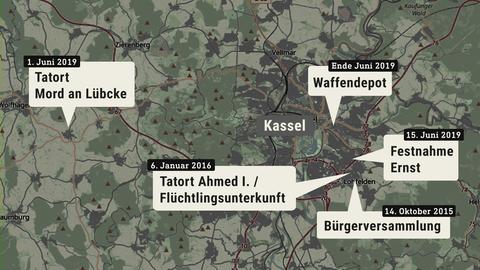 Die Karte zeigt eine Übersicht der wesentlichen Orte zum Mordprozess von Walter Lübcke.