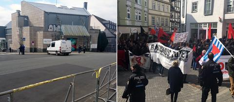 Die Polizei hat die Stadthalle in Wetzlar abgesperrt (l.), zahlreiche Gegendemonstranten protestieren in der Wetzlarer Innenstadt gegen die rechtsextreme NPD.