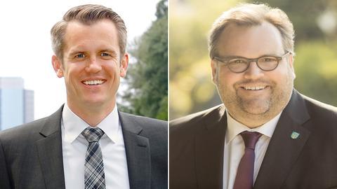Collage: Felix Schwenke (SPD, li.) und Peter Freier (CDU)