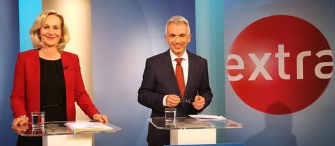 Bernadette Weyland (CDU) und Peter Feldmann (SPD) im TV-Duell.