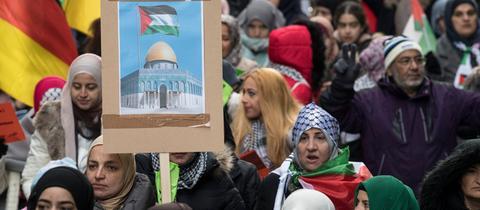 Demonstration gegen die Anerkennung Jerusalems als Hauptstadt Israels durch die USA