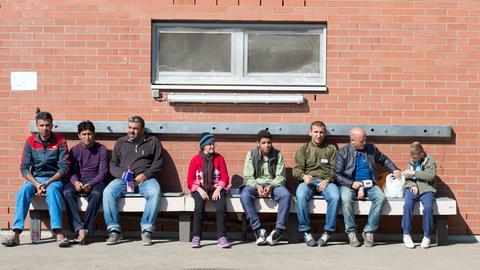 Flüchtlinge bei der Hessischen Erstaufnahmeeinrichtung in Gießen.