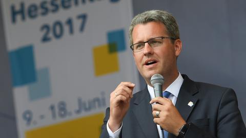 Patrick Burghardt, Oberbürgermeister Rüsselsheim, beim Hessentag 2017
