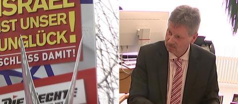 Bildkombo: Wahlplakat, Olbrich an Schreibtisch