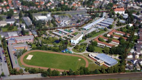 Das Gelände der Bereitschaftspolizei in Mühlheim aus der Vogelperspektive.