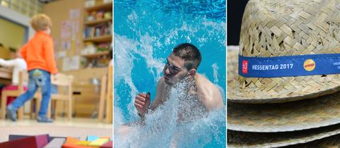 Collage: Kindergarten, Schwimmbad, Hessentag.