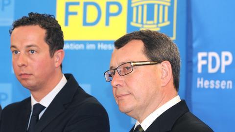 FDP-Fraktionschef Florian Rentsch, Abgeordneter Wolfgang Greilich (r.)