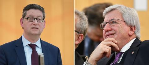 Thorsten Schäfer-Gümbel und Volker Bouffier im Landtag.