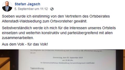Auf Facebook verkündete NPD-Politiker Stefan Jagsch seine Wahl zum Ortsvorsteher