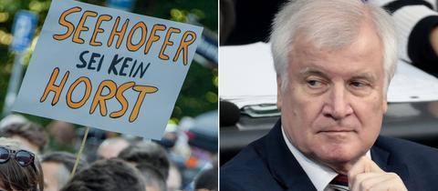 Bildkombo: links Demonstranten, rechts Bundesinnenminister Horst Seehofer (CDU)