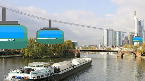 Die Fotomontage zeigt grafisch eine mögliche Seilbahn, wie sie zwischen Offenbahn und Frankfurt über den Main (Foto) schwebt.