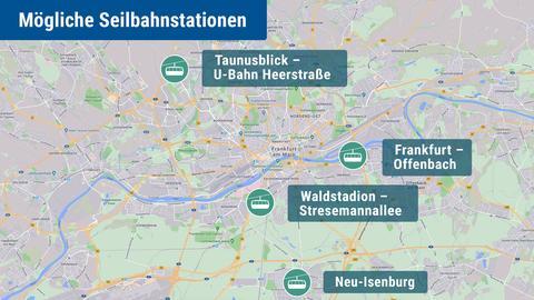Die Karte zeigt Frankfurt und die möglichen Standorte für eine Seilbahn.