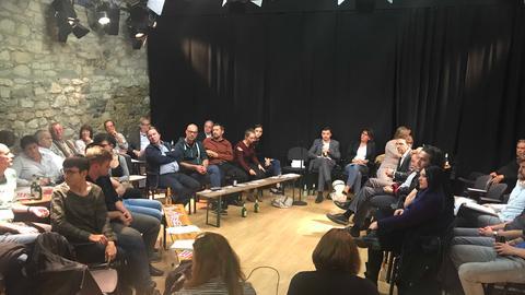 Treffen der SPD-Linken im Frankfurter Theaterhaus
