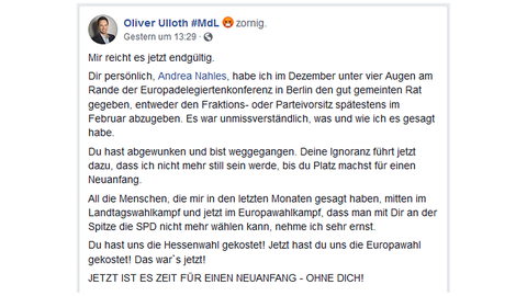 Facebook-Post des SPD-Politiker Ulloth.