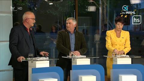 Udo Bullmann, Martin Häusling und Christine Anderson bei der TV-Debatte zur Europawahl