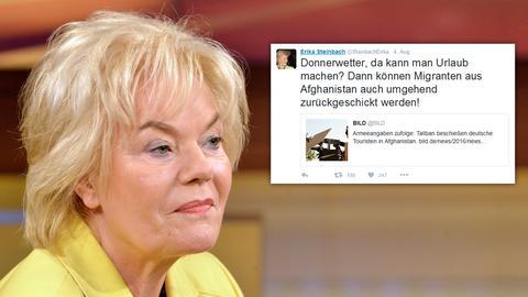 Collage: Erika Steinbach, daneben ihr Tweet, der Kritik hervorrief.