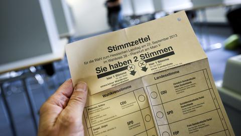 Ein Stimmzettel von der Landtagswahl 2013