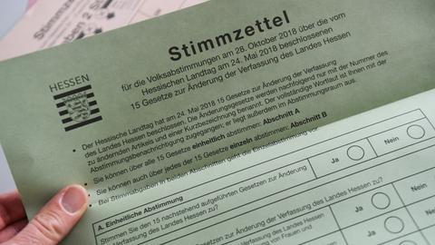 Muster des Stimmzettels über hessische Landesverfassung