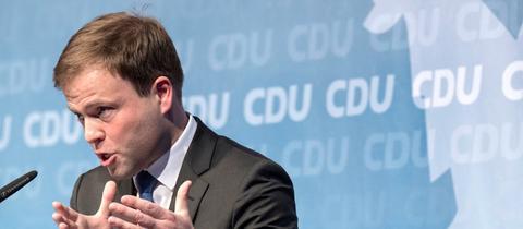 Sven Simon, bei seiner Vostellungsrede beim CDU-Parteitag in Alsfeld.