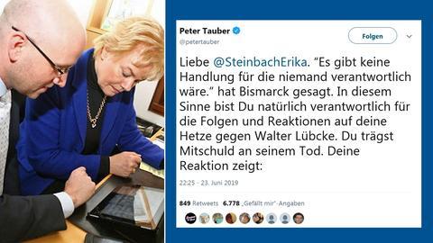 Peter Tauber und Erika Steinbach 2011 am Tablet und 2019 im Twitter-Streit