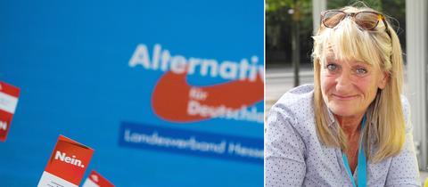 Christin Thüne und ein AfD-Logo.