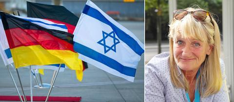 Israelische und deutsche Flaggen am Flughafen Tel Aviv, Christin Thüne