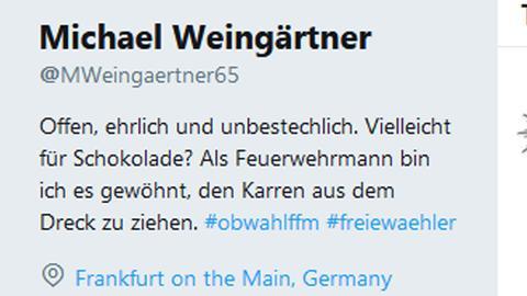 Twitterinfo von Michael Weingärtner