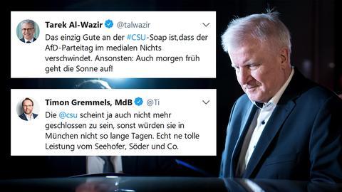 Horst Seehofer bei seinem nächtlichen Pressestatement zum geplanten Rücktritt, Tweets mit Reaktionen