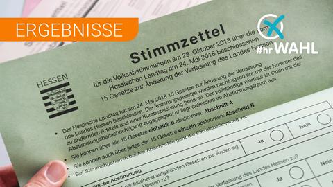 Das Bild zeigt den Stimmzettel zur Verfassungsreform in Hessen
