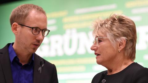 Die Landesvorsitzenden der Grünen in Hessen, Kai Klose und Daniela Wagner, im September 2015.