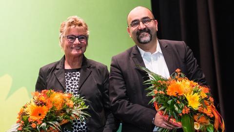 Landesvorsitzende Daniela Wagnerund der Bundestagsabgeordnete Omid Nouripour (beide Grüne)