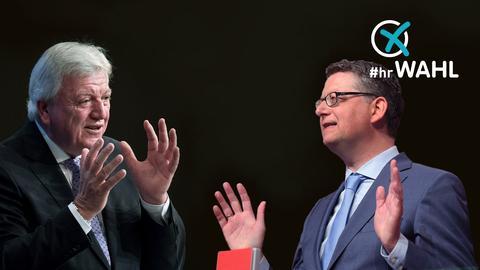 Ministerpräsident Bouffier (CDU) und SPD-Spitzenkandidat Schäfer-Gümbel