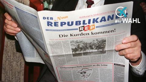Person liest Republikaner Zeitung
