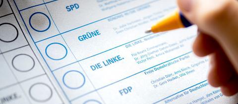 Ein Bundestagswahl-Stimmzettel in Detailaufnahme, daneben eine Hand, die einen Stift führt.