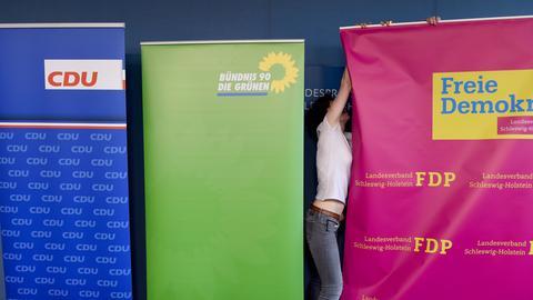 Aufsteller der Jamaika-Koalition in Schleswig-Holstein