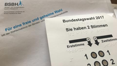 Umschlag und Wahlschablone