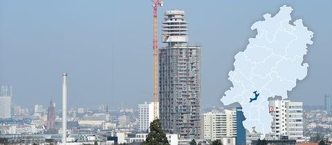 Der neue Henninger Turm ragt im südlichen Stadtteil Sachsenhausen in die Höhe.