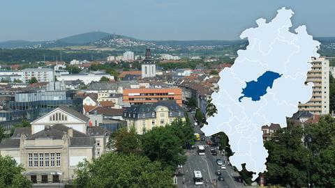 Blick vom Ludwigsplatz auf die Innenstadt von Gießen, vor allem dort werden bezahlbare Wohnungen benötigt.