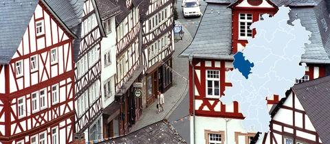 Blick vom Wilhelmsturm, dem Wahrzeichen der Stadt Dillenburg, auf die mittelalterlichen Fachwerkhäuser in der Alstadt.