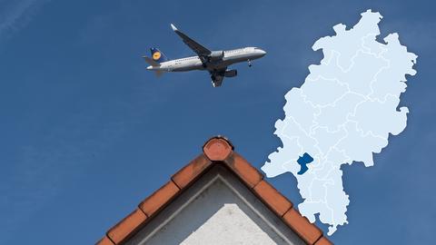 Flugzeug über den Dächern der Mozartstrasse in Flörsheim. Viele Menschen im Kreisgebiet leiden unter Fluglärm.