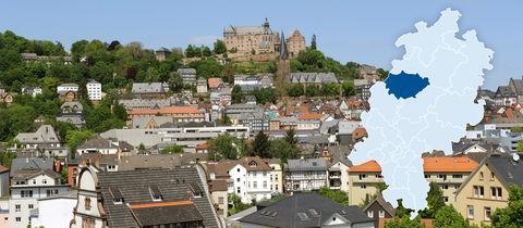 Das Oberzentrum Marburg - Blick über die Südstadt auf den Schlossberg mit Landgrafenschloss