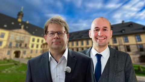 Die beiden Kandidaten für die Oberbürgermeisterwahl Mitte März in Fulda: Dr. Heiko Wingenfeld (CDU) und Jonathan Wulff (SPD) (von links)