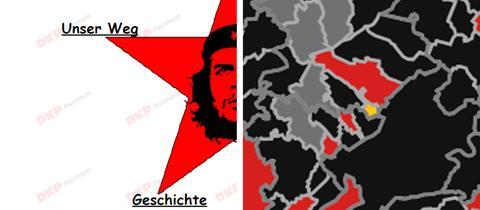 Che Guevara von der Homepage der Reinheimer DKP, die gelbe Insel Steinbach im Meer der Rhein-Main-Gemeinden
